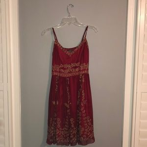 STUNNING red dress and gold beaded design!!